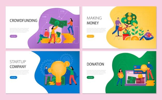 Poziome banery crowdfundingowe ustawiają stronę docelową