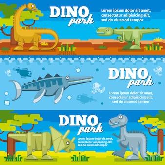 Poziome banery dinozaurów w stylu płaska konstrukcja. dino park z prehistorycznymi zwierzętami, ilustracji wektorowych