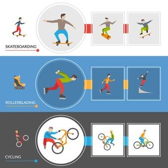 Poziome banery ekstremalnych sportów miejskich