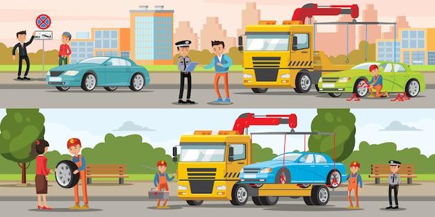 Poziome banery ewakuacji samochodów