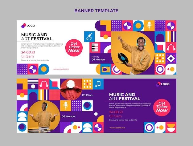 Poziome banery festiwalu muzyki płaskiej mozaiki
