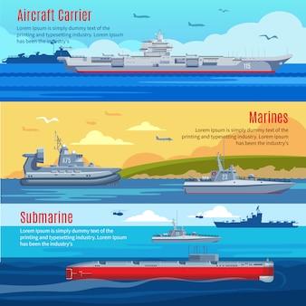 Poziome banery floty wojskowej