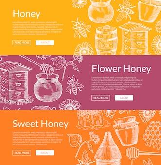 Poziome banery internetowe z ręcznie rysowane elementy miodu i miejsce na tekst