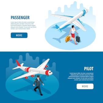 Poziome banery lotniskowe z pilotowym samolotem z walizką pasażerską