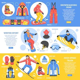 Poziome banery na snowboardzie