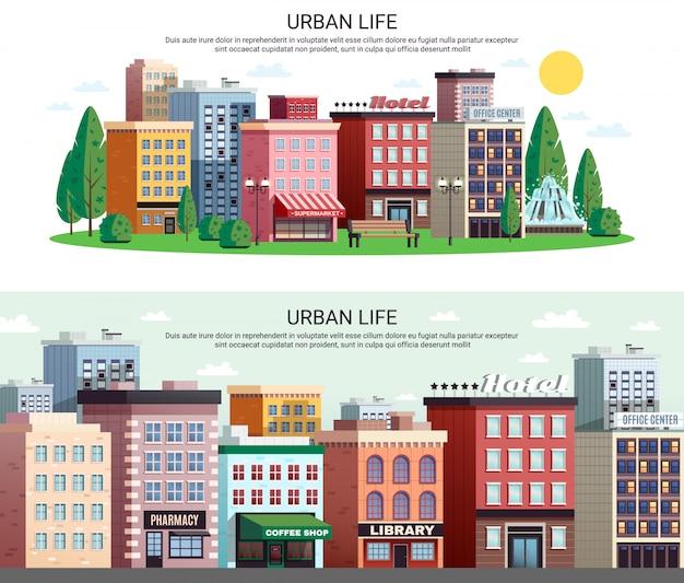 Poziome banery okręgowe domy miejskie
