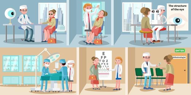 Poziome banery okulistyczne opieki zdrowotnej
