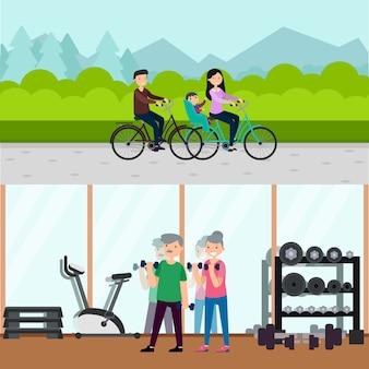 Poziome banery płaskie aktywnej rekreacji