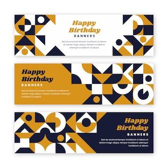 Poziome banery płaskie urodziny