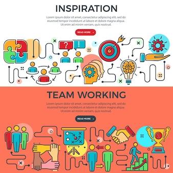 Poziome banery pracy zespołowej i inspiracji z kolorowymi ikonami linii, zespół, cel, inspiracja i kariera. infografiki procesu. koncepcja pracy zespołowej. ilustracja wektorowa
