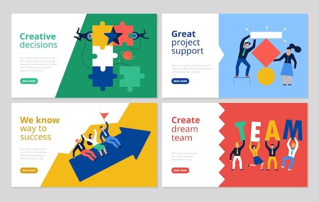 Poziome banery pracy zespołowej z symbolami wsparcia projektu płaskie izolowane ilustracji wektorowych