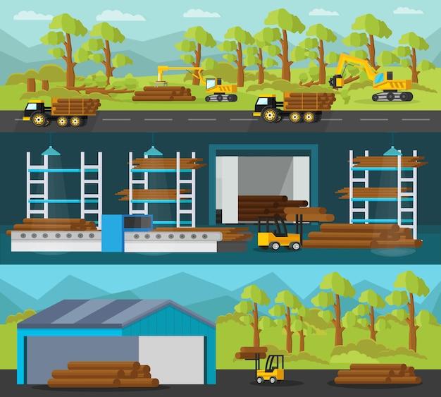 Poziome banery produkcji drewna