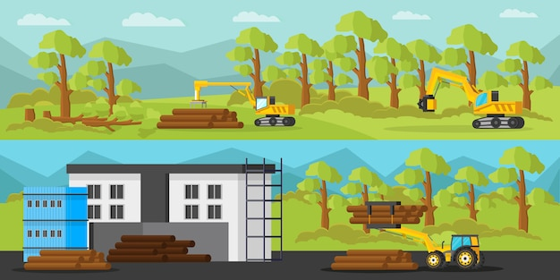 Poziome banery przemysłowe do produkcji drewna