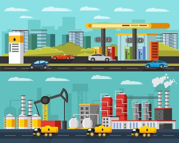 Poziome banery przemysłu naftowego