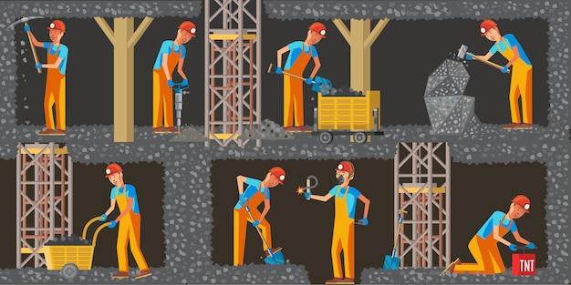 Poziome banery przemysłu wydobycia węgla