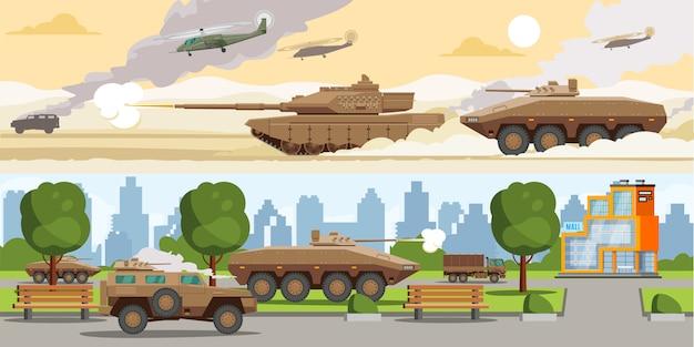 Poziome banery sprzętu wojskowego