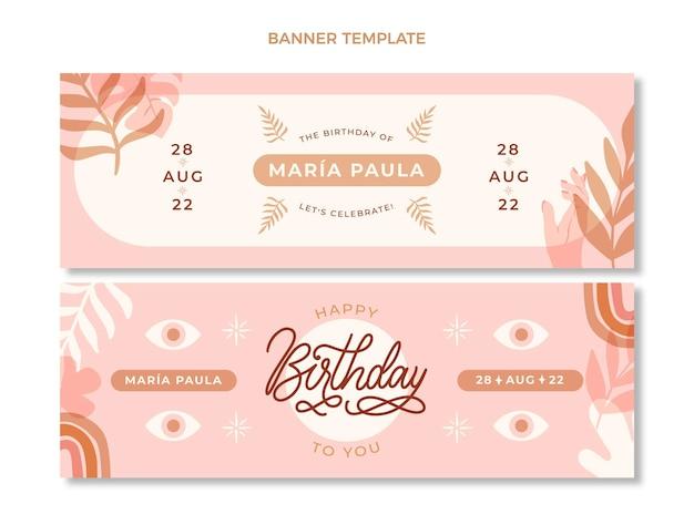 Poziome banery urodzinowe boho