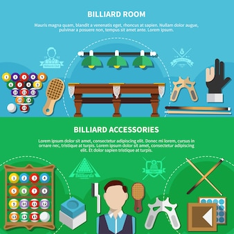Poziome banery ustawione z graczem, salą bilardową, akcesoriami do gier na białym i niebieskim tle