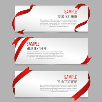 Poziome banery wektor zestaw z czerwonymi wstążkami. próbka banera, szablon banera, ilustracja fali wstążki dekoracji