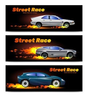 Poziome banery z szybkimi samochodami wyścigowymi