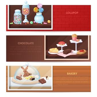 Poziome banery ze słodyczami