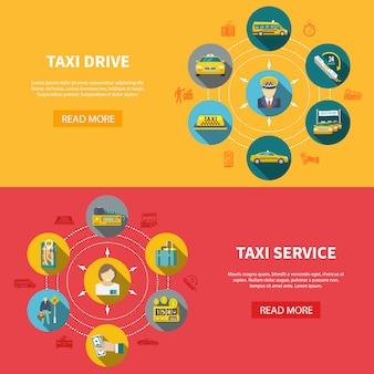 Poziome bannery firmy taksówkowej