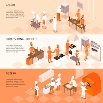 Poziome bannery izometryczne z personelem piekarni, kucharze w profesjonalnej kuchni, gotowanie w pizzerii izolowane