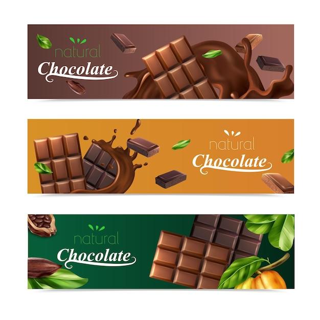 Poziome bannery kakaowe z naturalnymi batonami czekoladowymi i ziaren kakaowych na białym tle