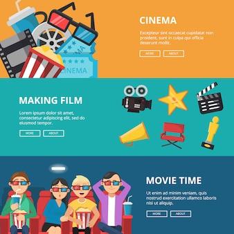Poziome bannery na temat kina. męskie i żeńskie postacie oglądające filmy