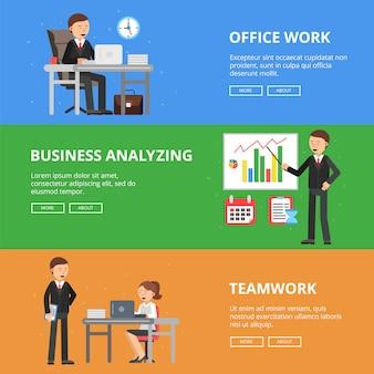 Poziome bannery obrazów koncepcji biznesowych
