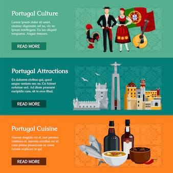 Poziome bannery płaskie prezentujące elementy atrakcji portugalskiej kultury i kuchni na białym tle ilustracji wektorowych