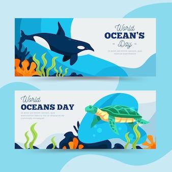 Poziome bannery światowy dzień oceanów