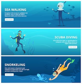 Poziome bannery z nurkami z akwalungiem morskim. śmieszne postacie z kreskówek