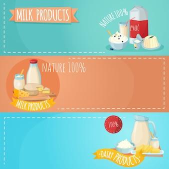 Poziome bannery zestaw produktów mlecznych