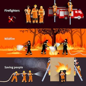 Poziome firefighter zestaw banery ludzie