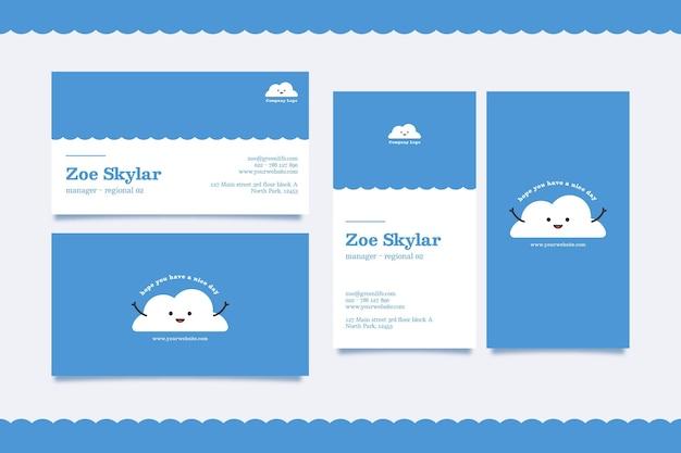 Poziome i pionowe wizytówki szablon z chmurą