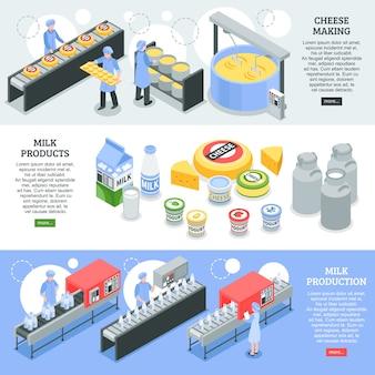 Poziome izometryczne banery produkcji mleka i sera z wyposażeniem fabrycznym
