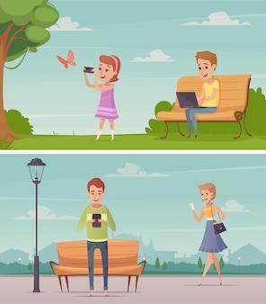 Poziome kompozycje na zewnątrz z dziewczyną fotografującą motyla i młodych mężczyzn oglądających ekran