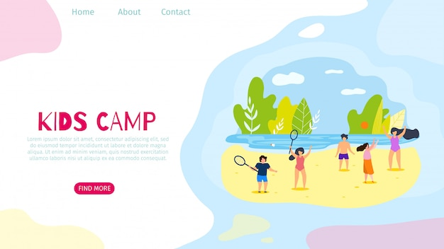 Poziome mieszkanie banner kids camp active leisure.