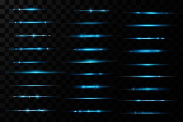 Poziome niebieskie promienie światła. blask przezroczysty wektor zestaw efektów świetlnych, iskra, rozbłysk słoneczny