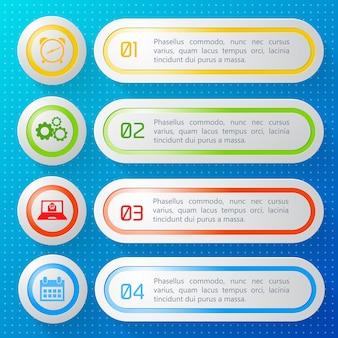 Poziome numerowane banery biznesowe z kolorowymi ramkami i okrągłymi ikonami na białym tle