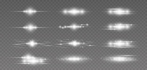 Poziome optyczne światło pochodni, lśniące smugi, nocne futurystyczne odkurzające paski jarzeniowe, zestaw lamp błyskowych gwiazd. blask specjalny efekt świetlny.