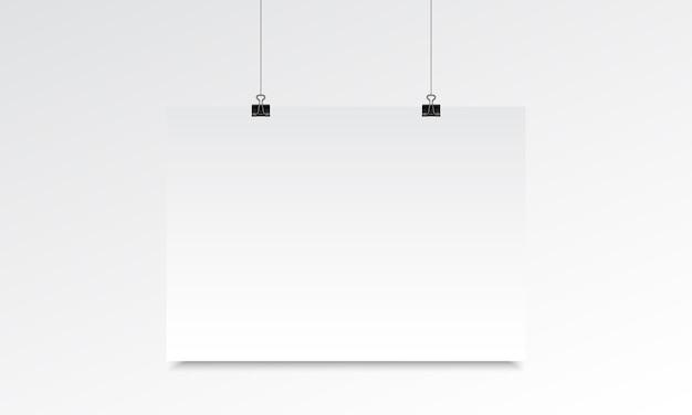 Poziome plakat realistyczny makieta ze zwisaniem