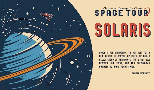 Poziome plakat vintage podróży kosmicznych