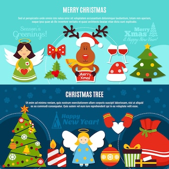 Poziome płaskie banery z pozdrowieniami, ozdoby świąteczne, choinka na jasnym i ciemnym tle na białym tle ilustracji wektorowych
