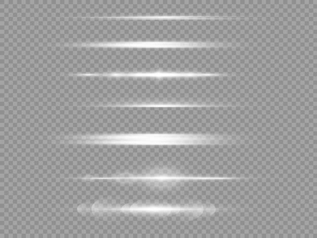 Poziome promienie światła białe poziome odblaski do soczewek.