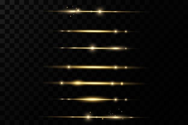 Poziome promienie światła. blask przezroczysty wektor zestaw efektów świetlnych, iskra, rozbłysk słoneczny