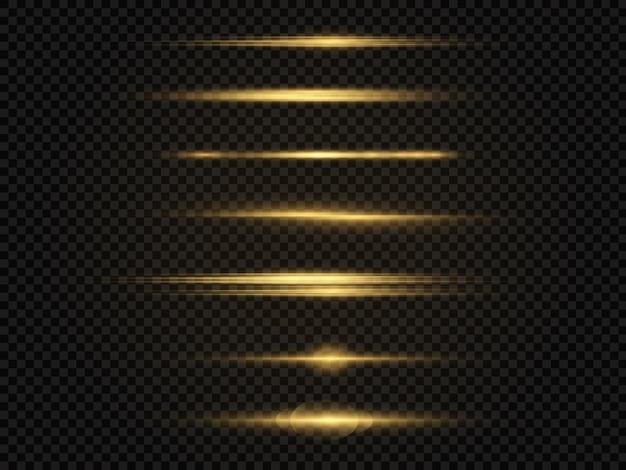 Poziome promienie światła migają na żółto, poziome flary soczewek pakują wiązki laserowe.