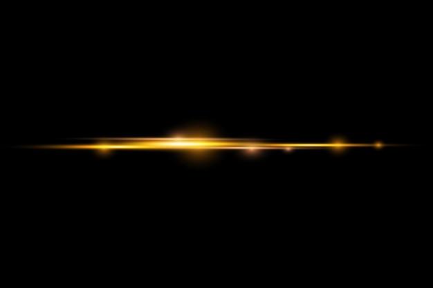 Poziome promienie światła, świecąca żółta linia, błyskowe żółte poziome rozbłyski soczewek