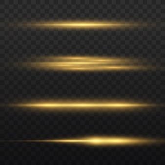 Poziome promienie świetlne, pakiet flar z żółtym i poziomym obiektywem, wiązki laserowe, blask żółtej linii, piękny rozbłysk światła, jasny złoty blask, ilustracja wektorowa